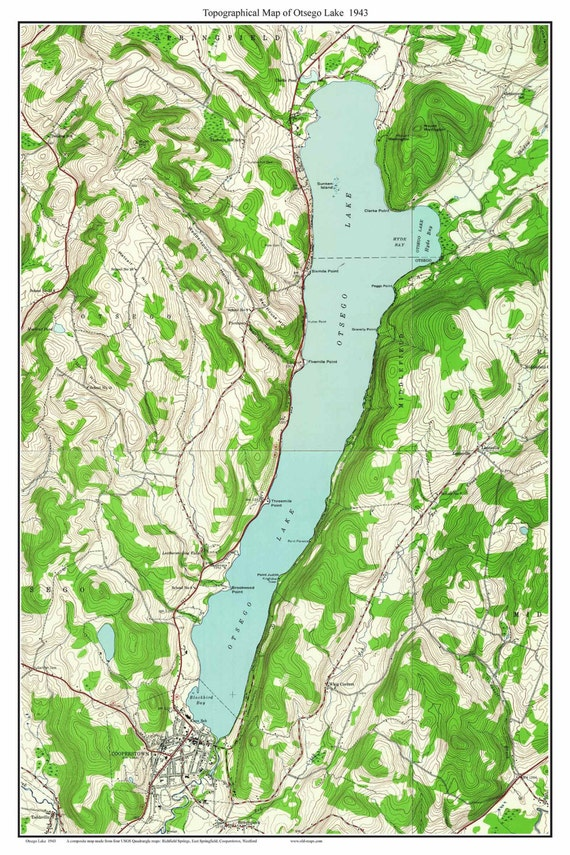 Otsego Lake ca 1943 USGS Old Topographic Map Custom Composite