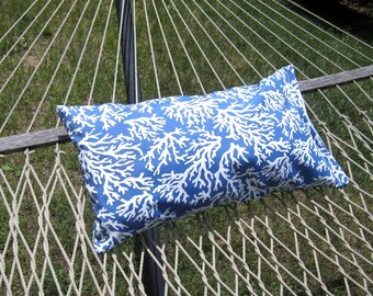 Outdoor Hammock Pillow Cover, Nautical Royal Blue Hammock Pillow- 14x26 Nautical Beach House Decor, Outdoor Pillows