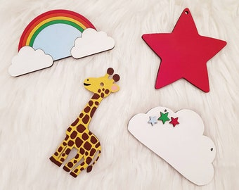 Rainbow cloud star giraffe bunting garland nursery baby room decor kids children bedroom handmade wooden ornament decorations