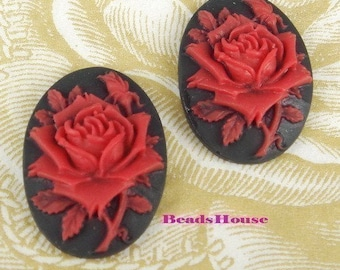 Wholesale 90s-00-RED -CA 12 Pcs Pretty Roses Cabochon Cameo,Red W/Black .