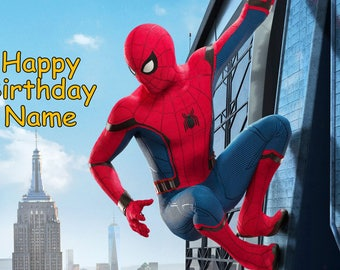 Spiderman Homecoming Edible Image Cake Topper Personalized Birthday 1/4 Sheet