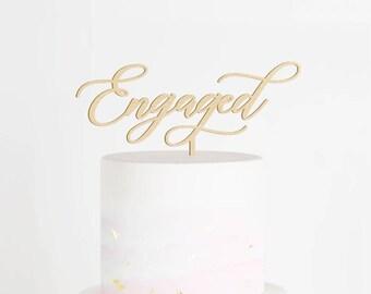 Engaged Cake Topper, Engagement Cake Topper, We're Engaged Cake Topper, Engagement Party Decor, Bridal Shower Cake Topper, Engaged