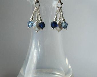 Silver Chandelier Pearl Drop Earrings - Sterling Silver Earrings with Grey Freshwater Pearls with Blue Swarovski Crystal Drops