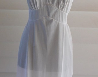 Vintage Lingerie White Nylon Slip Sheer Accents at Bust and Hemline by Aristocraft Serene Highness