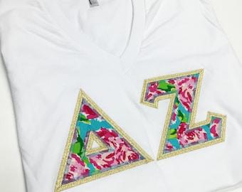 Sorority Greek V-Neck Letter Shirt Lilly Pulitzer