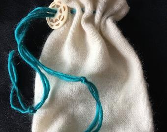 Drawstring pouch keepsake cashmere knit trinket jewelry pouch felted pure cashmere Drawstring Bag Gift Bag Crystal Bag dice bag secret stash