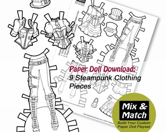 Steampunk Paper Doll- Mix & Match Digital Paper Doll Clothing Download- Printable Paper Doll Clothing Set