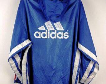 Vintage 90s Adidas Equipment Big Logo Streetwear Windbreaker Hoodie Jacket Nylon Large