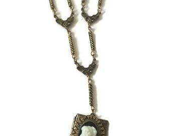 Vintage Brass Book Locket Cameo Necklace, Victorian Revival Style Cameo Book Locket