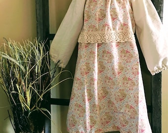 Easter Peasant style girls dusty pink dress with vintage lace waist band