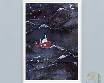 Night Fishing A3  Digital print