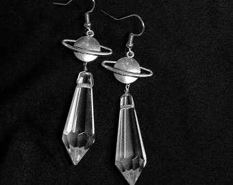 As is: Sailor Saturn Planet Crystal Earrings