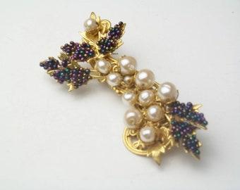 Vintage Stanley Hagler N.Y.C. Baroque Pearls Amethyst Seed Beads Gold Plate Costume Jewelry Spray Brooch Pins Gift For Her Best Deal