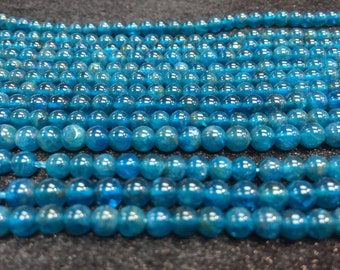 5mm Neon Apatite Smooth Round, Perfect Round Beads- 40cm Length -