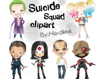 Cute suicide Squad characters clipart: instant download, PNG file - 300 dpi
