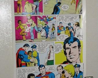 1970's Superman poster! Original Children's Rights PSA Public Service Announcement DC Comics vintage Superman pin-up poster 2:Neal Adams art