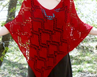 knit poncho pattern, majestic queen of hearts lace poncho pattern DIY instructions, heart knit pattern, fall knit pdf, autumn sweater diy