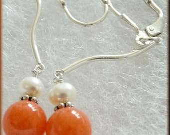 Frosted Pumpkin Wavy Sterling Earrings