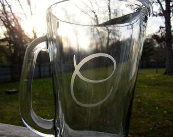 Etched Beer Pitcher | Personalized Beer Pitcher | One Initial