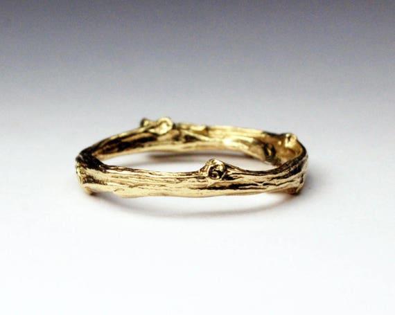 Tompkins Square Park Gold Twig Ring -closed circle-14k Yellow gold