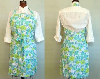 Apron Wrap Dress Linen Flower Print Handmade Apron Dress Komater Sisters Design Size MEDIUM