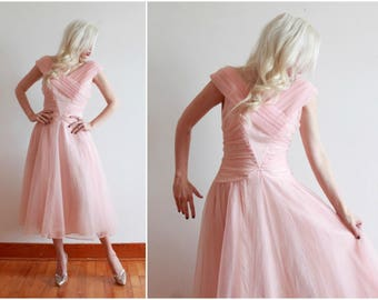 "1950s dress | pastel pink 50s dress | bombshell cupcake princess fairy dress | size s  bust 34-36"" waist 26"""