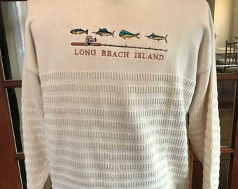 Vintage Vantage Long Beach Island Fishing Fish Sweater