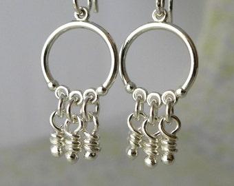Sterling Silver Dangle Earrings, Small Chandelier Dangling Knots, Tiny Knot Hoops, Whimsical Knots, Silver Earring Rustic Knot, Meri Aroluna