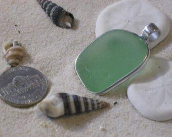 Bright Green Lake Erie Beach Glass Pendant