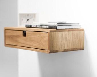 Floating Nightstand with 1 drawer in Oak, Scandinavian Design
