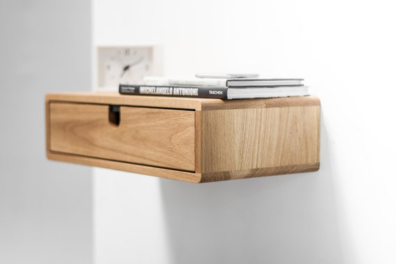 drawers mid drawer white floating bedside habitables il solid with century shop table oak modern in nightstand