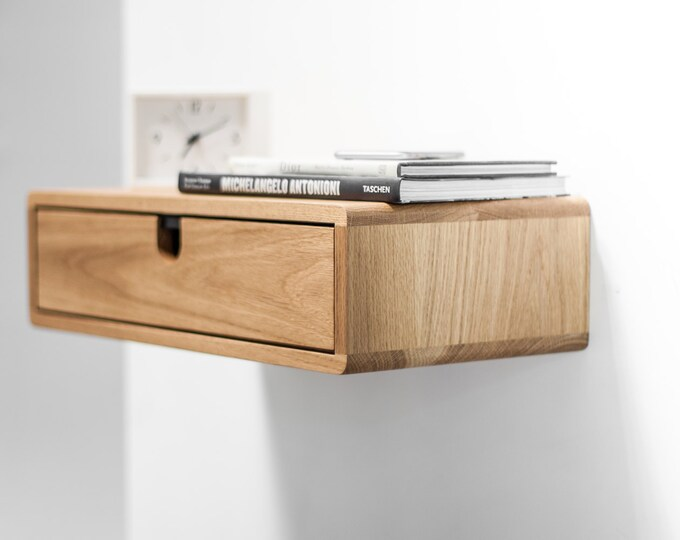 Floating Nightstand with 1 drawer in Oak, Scandinavian Design