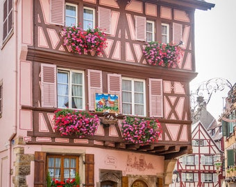Colorful Colmar Alsace, France photo, Falling Off Bicycles travel photo, red fine art photography