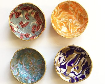 Marbled ring dish Set of 4 - Surprise Box - Polymer Clay Dish - Jewelry Holder - Bridesmaid Gift - Hostess Gift - Housewarming Gift