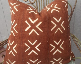 BOHO Authentic Rust Mud cloth pillow cover African mudcloth pillow cover