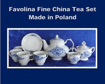 Favolina Blue and White 12 Piece Fine China Tea Set (Poland)
