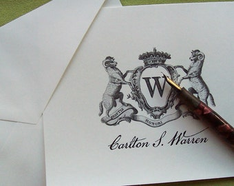 Personalized Ram Family Crest Monogrammed Note Cards Stationery Set of 10 Vintage Inspired Country Heraldic Chapel Hill NoteCards Barn Farm