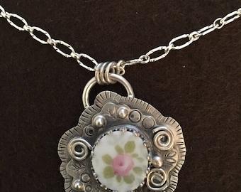 Rose China Shard Necklace