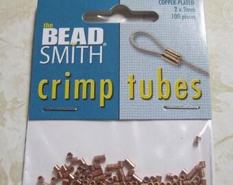 ON SALE Crimp Tubes Copper Plated Crimps 2mm x 2mm 100 pcs F434