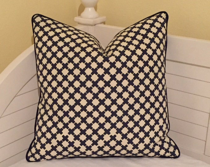 Quadrille China Seas Double Cross in Navy on Tint (Ivory)  Designer Pillow Cover - Square, Euro and Lumbar Sizes