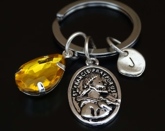 Saint Francis of Assisi Keychain, Saint Francis of Assisi Key Chain, St Francis Keychain, St Francis Key Chain, St Francis Medal, Religious