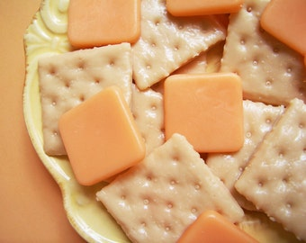 Crackers With Cheese Soap Set - Cheese Soap, Cracker Soap, Orange Soap, Fake Food Soap, Party Favors, Prank Soap, Gag Gift, Funny Soap, Soap