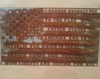 Patriotic American pledge of allegiance flag galvanized patina