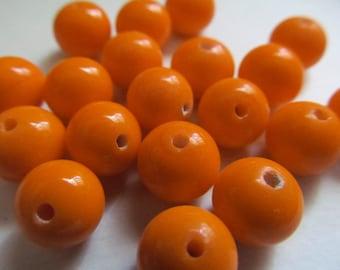 16 Vintage Glass Beads Tangerine Handmade Japanese Beads 8-9mm