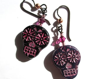 Black and Pink Sugar Skull Earrings, Halloween Earrings, Skull Day of the Dead Southwestern Dangle Earrings, Crystal Glass Goth Boho, HO0025