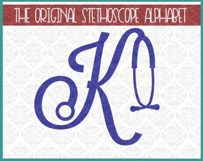 Stethoscope Alphabet, Nursing Alphabet, Nurse Svg, Stethoscope SVG, Silhouette Svg, Nursing Svg, Nurse Cutting FIles, Stethoscope Letters