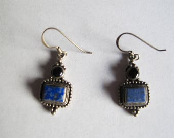 Vintage Lapis and Onyx Sterling Silver Earrings