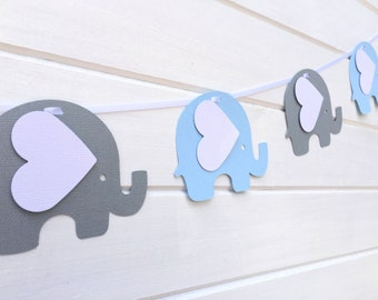 Blue & Gray Elephant Garland. Baby shower, birthday party, bunting, banner, dessert table. First birthday party.