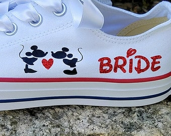 Wedding Converse, Mickey and Minnie, Kissing Heart, Name Date, Mrs Bride, Satin Laces, Personalized Bride Shoes