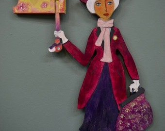 Mary Poppins like wooden wall decoration